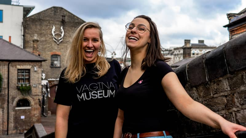 Vagina Museum founder Florence Schechter (right) and volunteer Jasmine Evans.