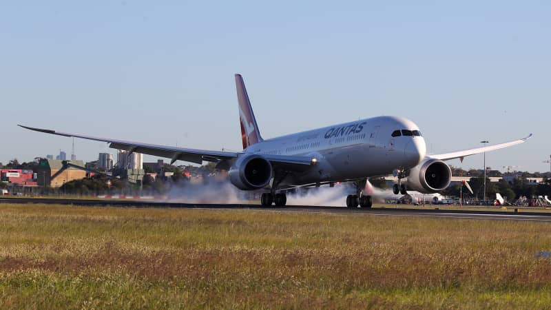 The Qantas Boeing 787 Dreamliner plane arrives at Sydney International Airport