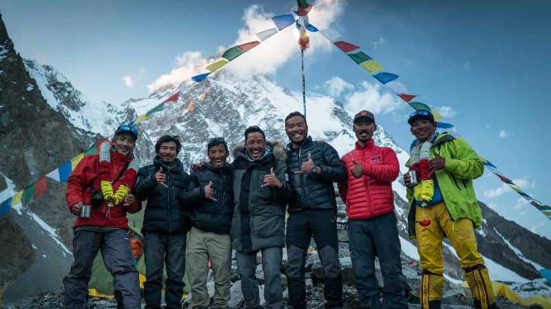 A rotating team of six Nepalese sherpa guides accompanied Nirmal Purja during the challenge