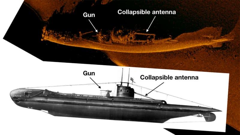 "A comparison between the wreck of HMS Urge and an image of a ""U-class"" submarine"