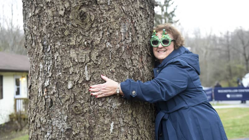 Carol Schultz, wearing an appropriate pair of sunglasses, gives her beloved 77-foot Norway spruce one last squeeze before it's cut down.