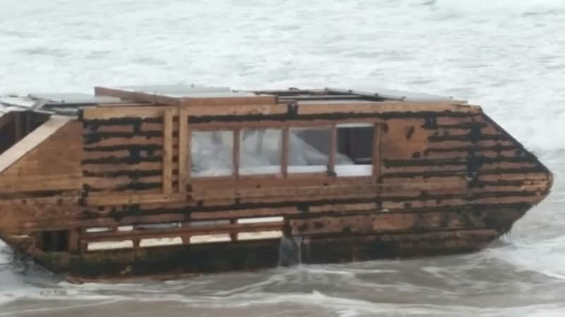 The mysterious boat was kitted out with solar panels and kettles.