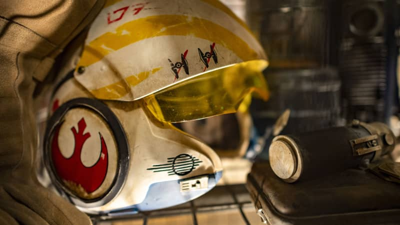 Fans will appreciate close up views of rebel flight suits, helmets and macrobinoculars.