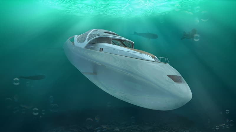 Renderings of the Carapace yacht designed by Elena Nappi