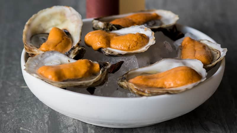 Erik Bruner-Yang's Oysters with Uni is all about brine on brine, according to chef Bruner-Yang.