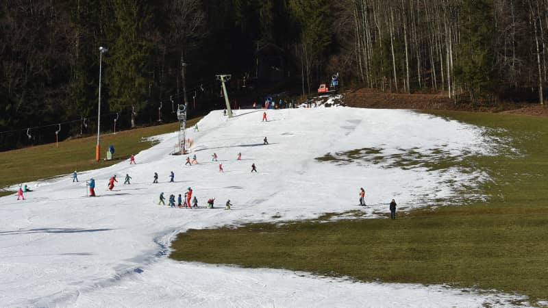 Artificial snow has saved the day for skiers in Ruhpolding, Germany.