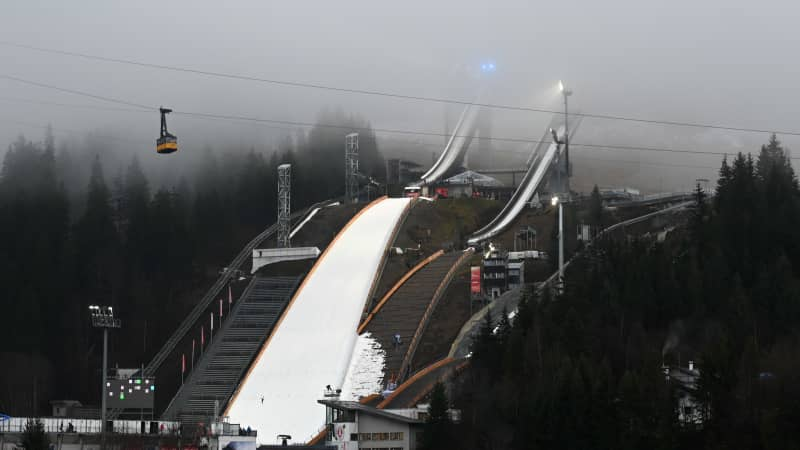 Organizers had to bring in old snow for the ski jump competition in Oberstdorf last month.