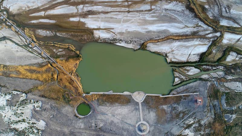 An aerial view China's lowest point, Ayding Lake