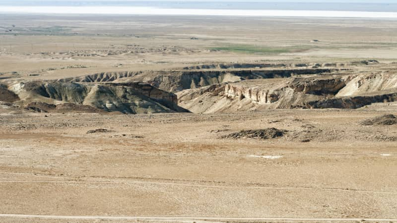 This landscape was created from the collapse of limestone caverns near the Caspian Sea.