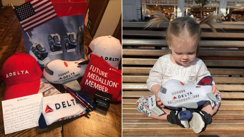 Kenley's Daddy Doll returned with some Delta swag and a handwritten note about his adventures.
