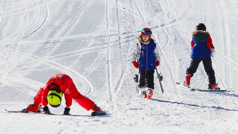 Georgia skiing resorts - Bakuriani, children on skiing slope