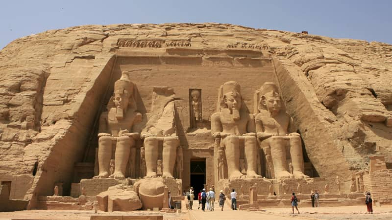 The stunning Abu Simbel is often visited as a long day trip from Aswan by airplane or road