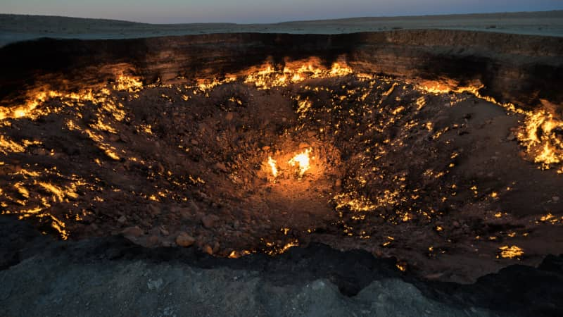 """The """"Door to Hell"""" is close to the low point of Vpadina Akchanaya. Definitely a sight to behold if you're nearby."""