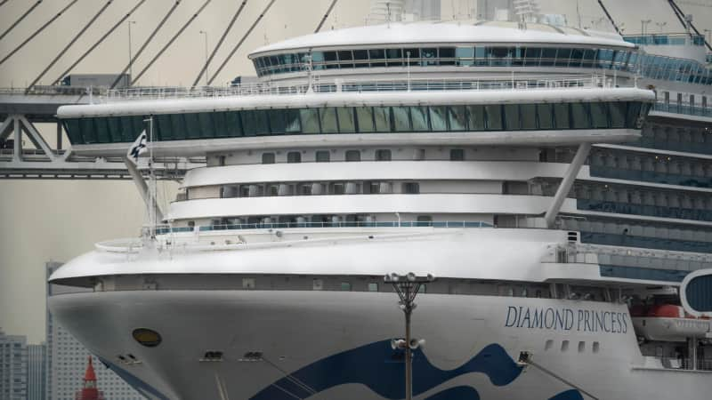 The Diamond Princess cruise ship is anchored at Daikoku Pier of the Yokohama Port. The ship will sail after as major cleaning effort.