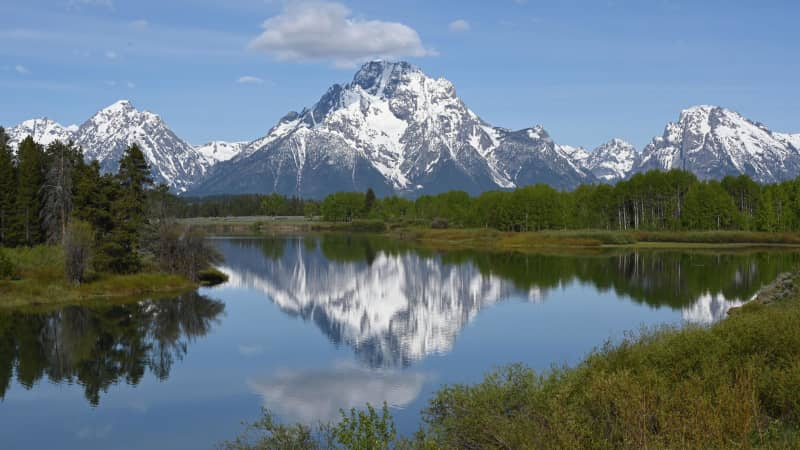 The Grand Teton mountain range in Grand Teton National Park is stunning any time of year.