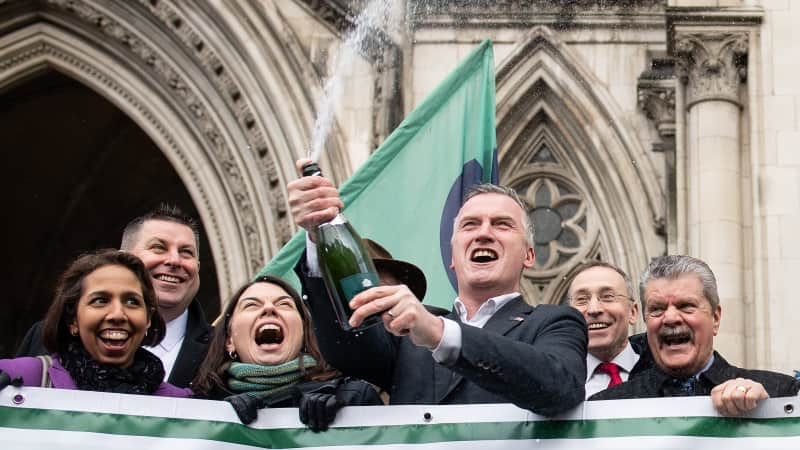 Campaigners celebrate the ruling on Thursday.