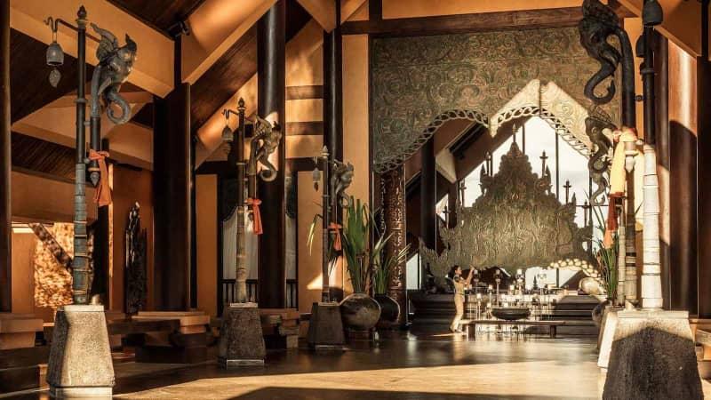 Anantara Golden Triangle Elephant Camp & Resort's stunning lobby.