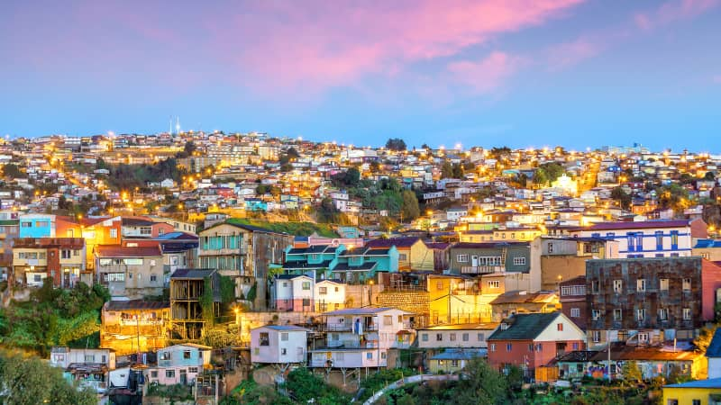 The historic quarter of Valparaiso in Chile shines at night.