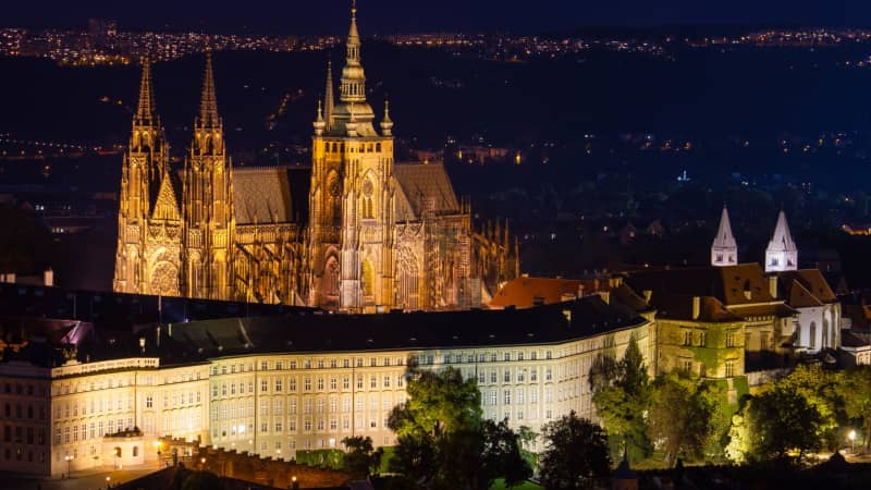 The President of the Czech Republic is officially based in Prague Castle.