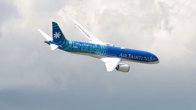 The Air Tahiti Nui flight was operated by a Boeing 787-9, like this one, which was photographed at the International Paris Air Show on June 17, 2019 at Le Bourget Airport, near Paris.