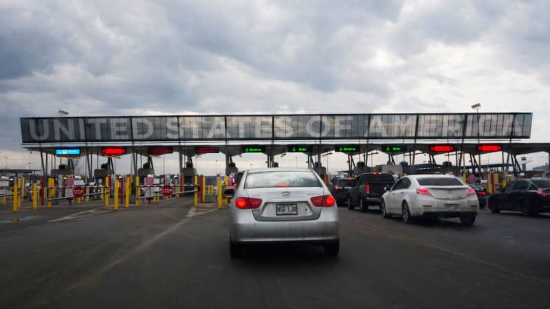 Cars usually line up to cross into the US at the US/Canada border at Saint-Bernard-de-Lacolle, Quebec.