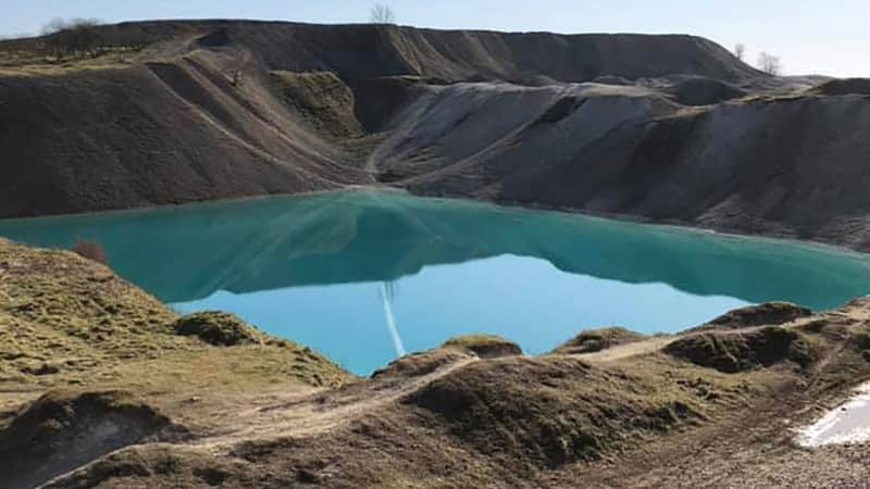 "What the ""Blue Lagoon"" looked like before it was dyed black."