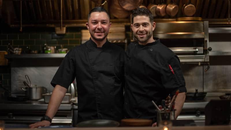 Chef-partners Adam Bordonaro (left) and Ryan Lowry at their now-shuttred restaurant, Ardyn, in New York City