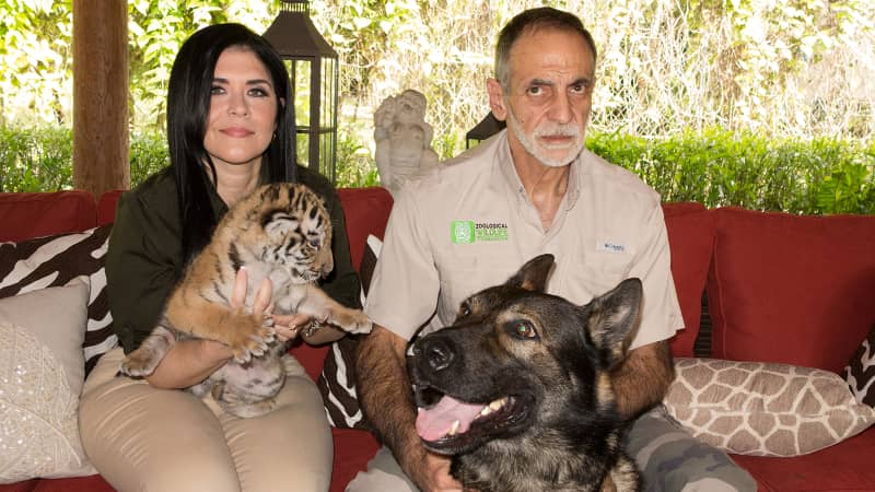 Maria and Mario Tabraue pictured at the Zoological Wildlife Foundation in Miami, Florida, in 2016.