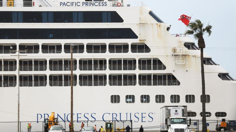 The Pacific Princess at Los Angeles in April, its final port of call after most passengers disembarked in Australia.