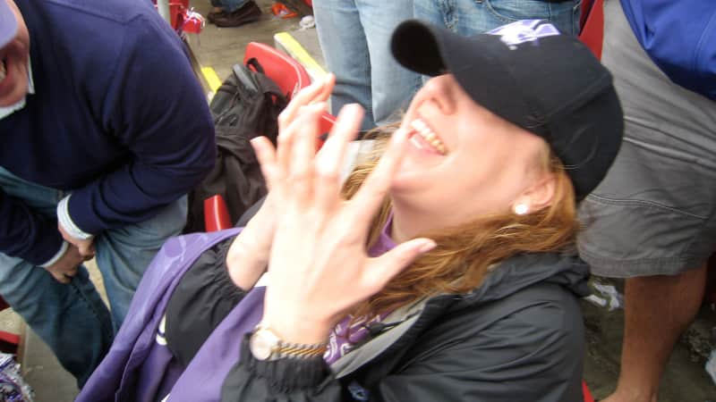 A common anxiety-ridden pose of the author's, visible during any Northwestern game.