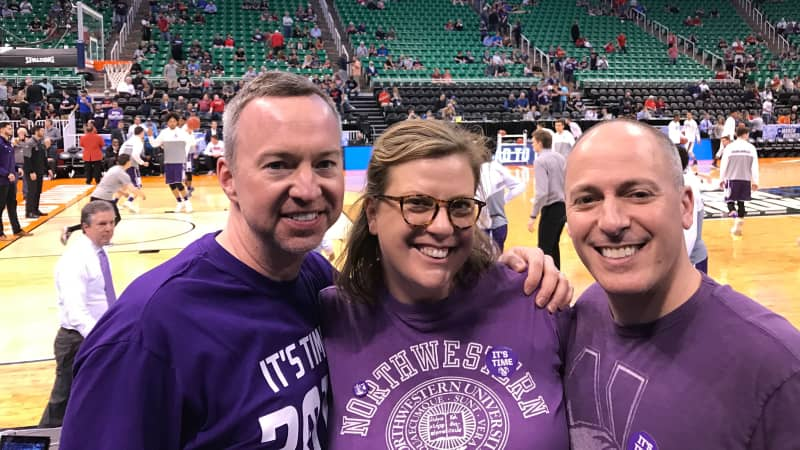 Ryan Hedges (left) and Andrew Hilsberg with the author at Northwestern's first appearance at March Madness, Salt Lake City, 2017.