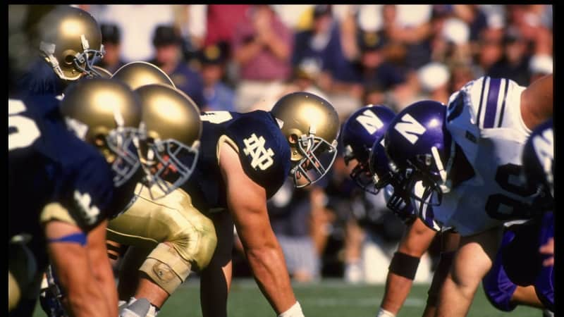 Center Dusty Zeigler of the University of Notre Dame sets to hike the football during the Fighting Irish 17-15 loss to Northwestern University at Notre Dame Stadium in South Bend, Indiana.