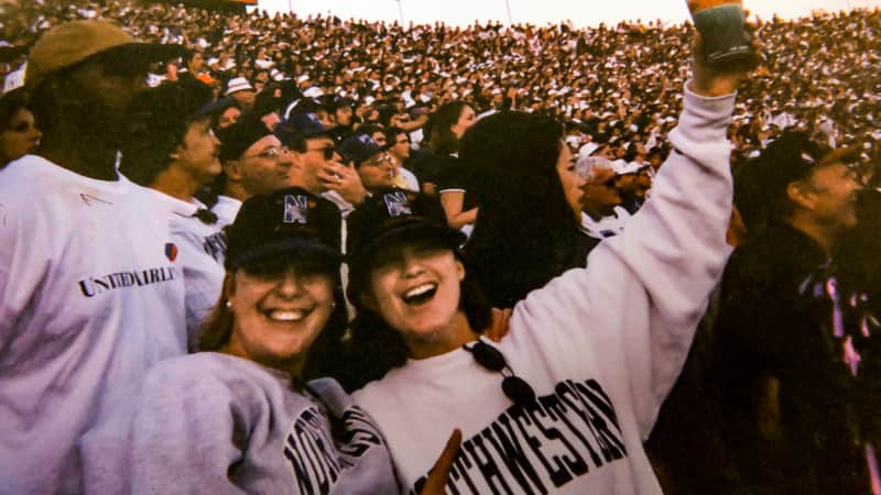 The author and her friend Julie King at the Rose Bowl on New Year's Day, 1996.