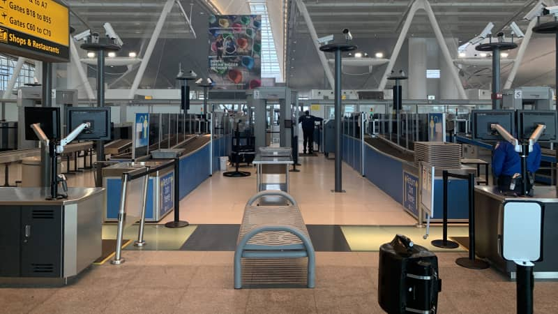 Inside JFK Terminal 4 after passing through the nearly-empty security checkpoint on June 27, 2020.