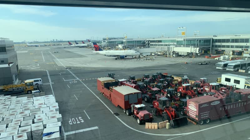 Empty gates, few planes, unused equipment: Welcome to the pandemic airport.