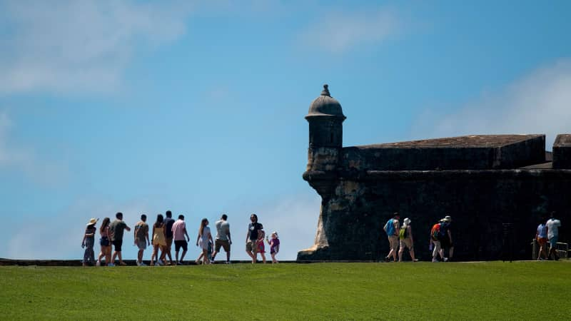 Tourist visit El Morro fort in San Juan just before the coronavirus pandemic.