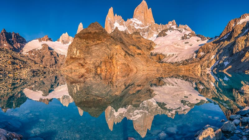 Mount Fitzroy in Argentina's Patagonia region is another stunning landscape along their meandering route.