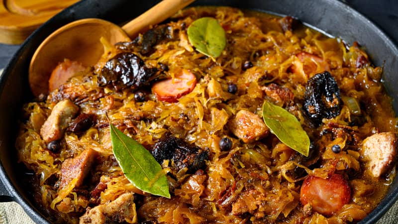 A much-loved Polish stew made from sauerkraut, meat and a variety of vegetables.