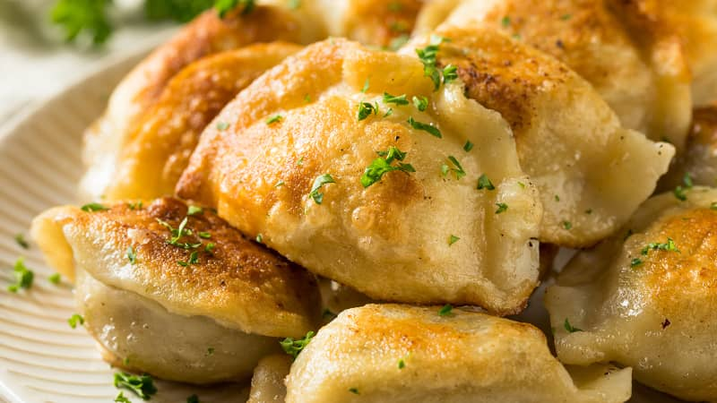 Pierogi are filled dumplings containing either meat, vegetables, cheese, fruit or chocolate.