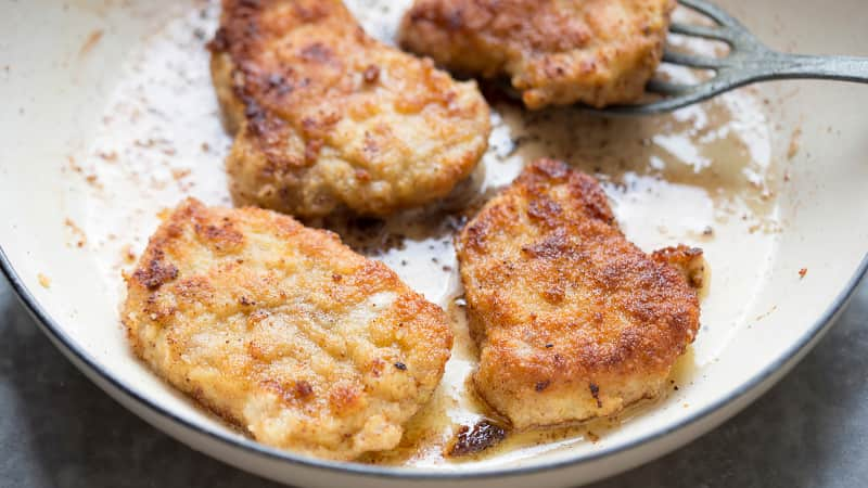 Kotlet schabowy -- a breadcrumbs-coated cutlet made from pork.