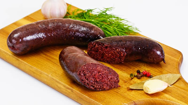 Sausages containing pig's blood, pork offal and buckwheat.