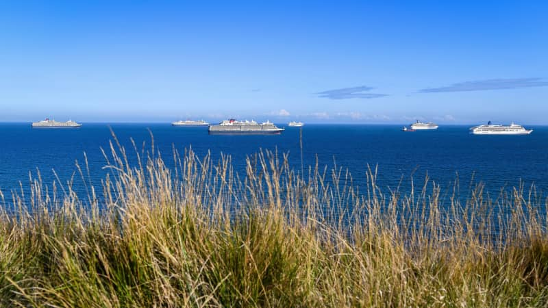 Several cruise ships are currently anchored off the English Channel. Pictured here: Queen Victoria, Queen Mary 2, Queen Elizabeth, Marella Discovery, Carnival Valor and Aurora, off the coast of Weymouth.