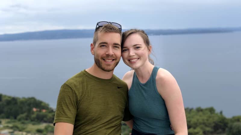 American Sarah Archer, right, and her boyfriend, Christian, reunited in Europe in July.