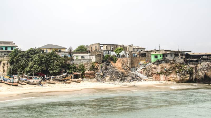 The fishing village of Jamestown,  one of the oldest districts of Accra.