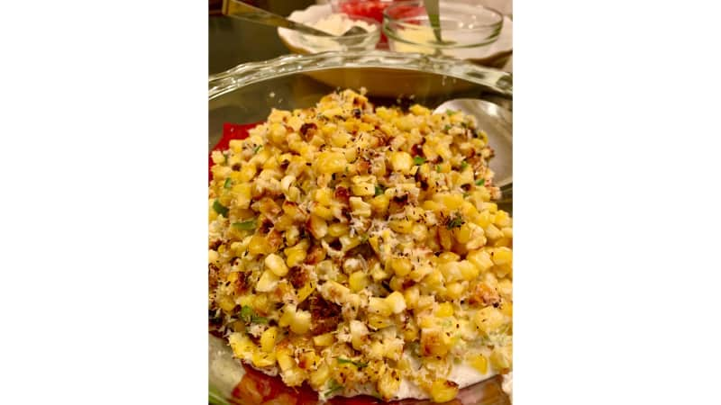 """Charred corn with coconut chilies and lime from """"Milk Street: Cookish: Throw it Together"""" were added to our family's weekly taco night."""