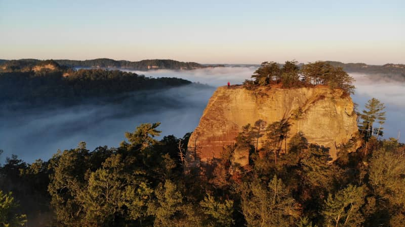 Courthouse Rock in the Red River Gorge in Kentucky is gorgeous on a foggy sunrise.