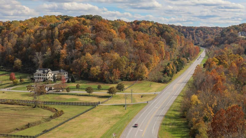Autumn is beautiful time to drive the the Natchez Trace, which runs from Mississippi to Tennessee.