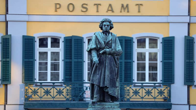 The Beethoven monument at Muensterplatz was unveiled 17 years after the composer's death.