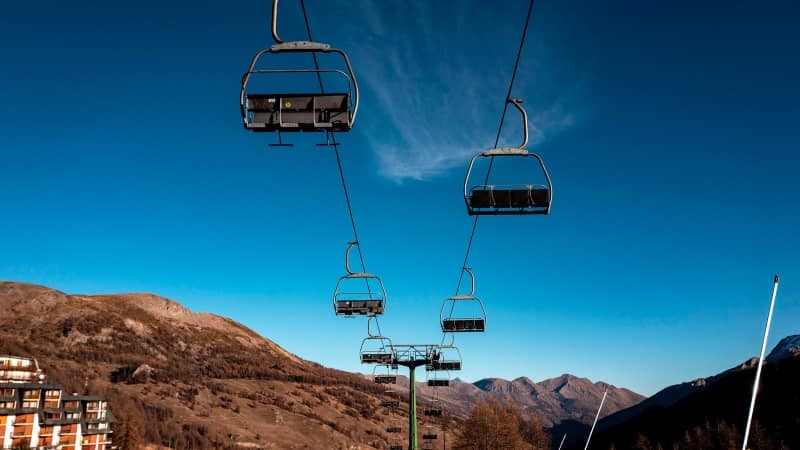 A deserted chairlift is pictured at the alpine ski resort of Sestriere in Val Susa, Piedmont, Italy, on November 26, 2020 during the COVID-19 pandemic caused by the novel coronavirus.