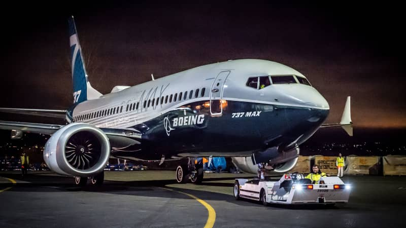The first 737 MAX 7 is pulled into position for its debut at Boeing's Renton, Washington